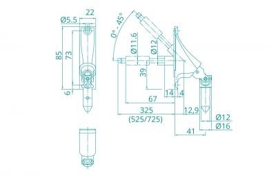 WAREMA • Gelenkplatte 22x85mm für Getriebe / Motor + Anschluss Kurbelbedienung