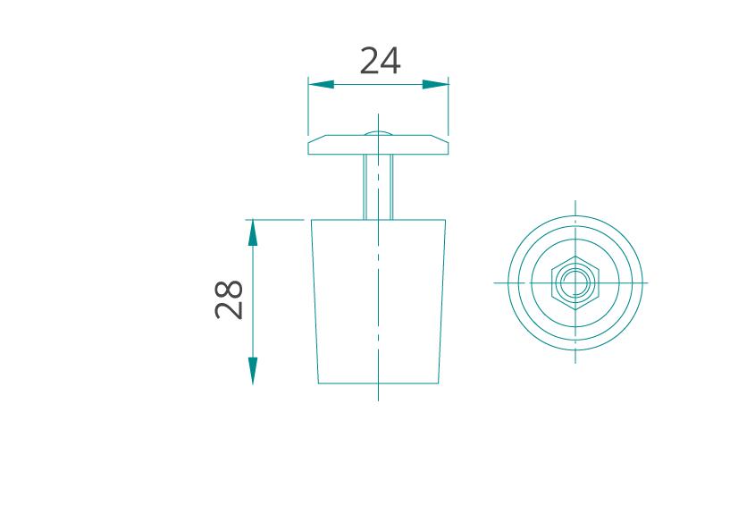 WAREMA Anschlagstopper Rund für Rollladen-Endschiene (flach)